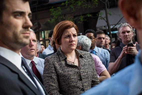 Speaker of New York City Council and Mayoral Candidate Christine Quinn participates in a Rally Against Hate, organized by members of New York's Lesbian-Gay-Transgender-Bisexual community.