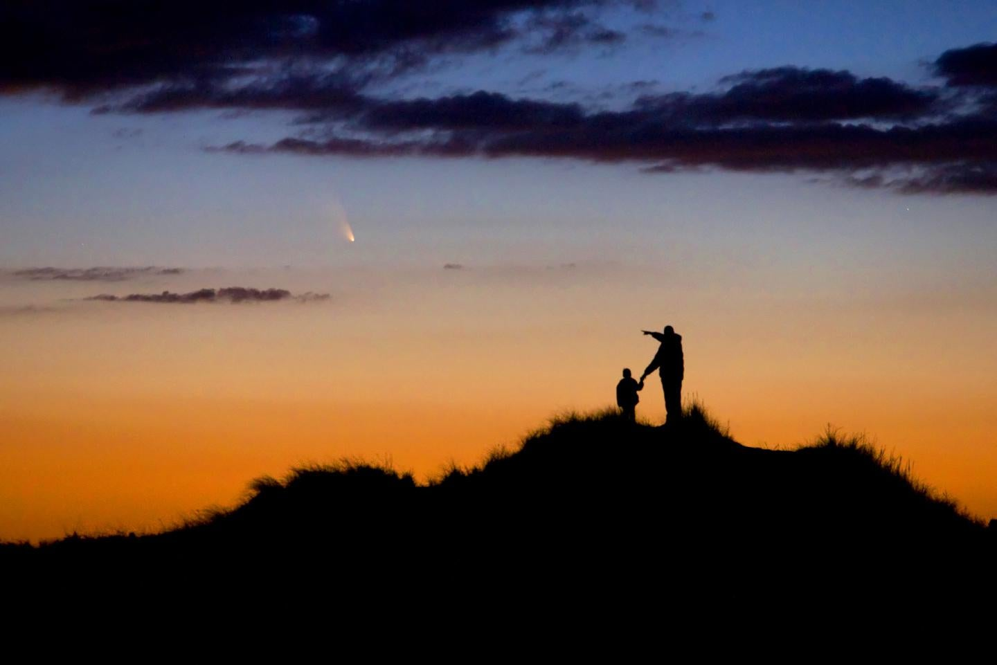 Father and son observing Comet PanSTARRS