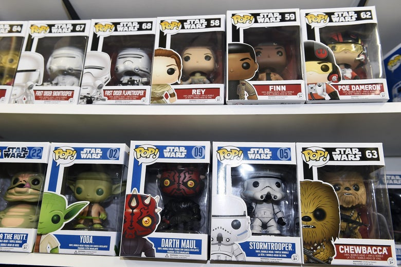 A wall of Funko Pop Star Wars figures.