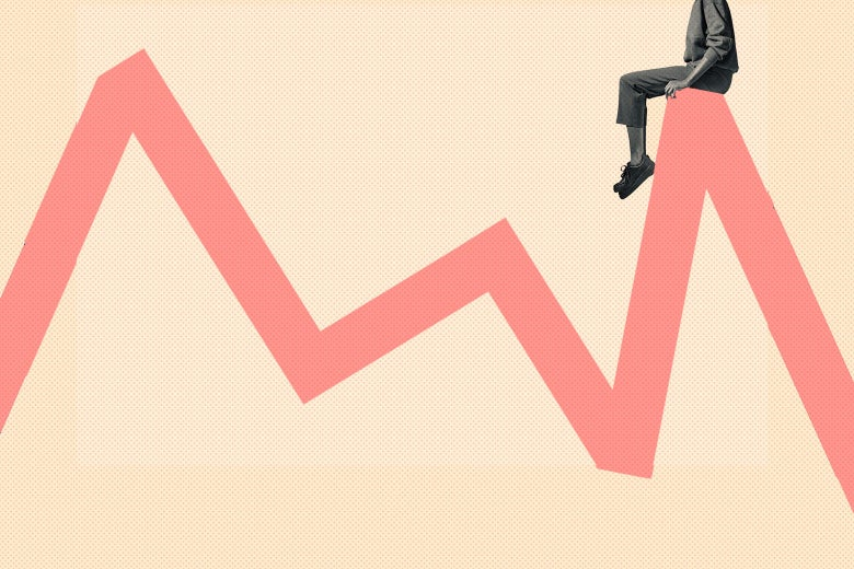 A woman sits on top of a line chart that has ups and downs.