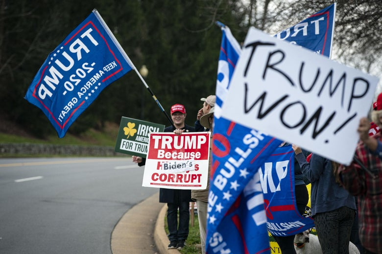 """A crowd on the side of the road holding up signs that say """"Trump 2020"""" and """"Trump Won"""""""