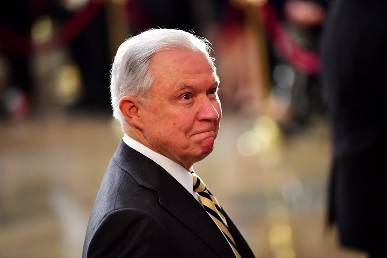 Attorney General Jeff Sessions stands as the casket of former Senator John McCain in the Capitol Rotunda lies in state at the U.S. Capitol, in Washington, D.C. on August 31, 2018.