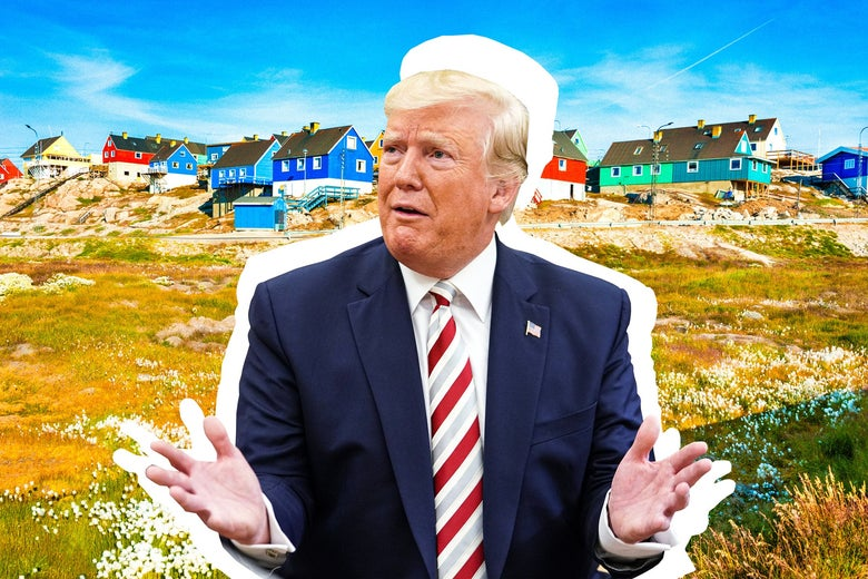 Trump shrugging in a picturesque Greenland landscape.