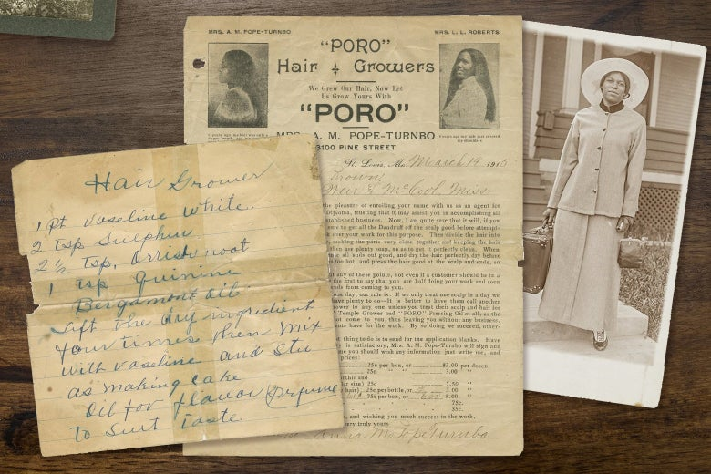 A photo collage including documents that show how to make a hair growth serum, an enrollment document to cosmetics school and a portrait of a woman holding a suitcase and wearing a wide brimmed hat