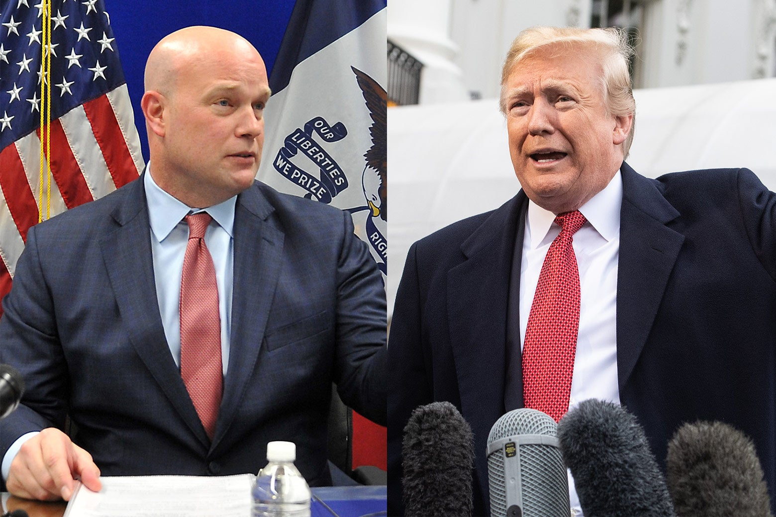 Side-by-side images of Matthew Whitaker and President Donald Trump.