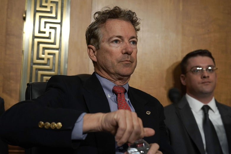 WASHINGTON, DC - APRIL 23:  U.S. Sen. Rand Paul (R-KY) waits for the beginning of a Senate Foreign Relations Committee meeting April 23, 2018 on Capitol Hill in Washington, DC. The committee is scheduled to vote on the nomination of CIA Director Mike Pompeo to be the next Secretary of State. After some hesitation, Sen. Paul has said he will support Pompeo for the position. (Photo by Alex Wong/Getty Images)