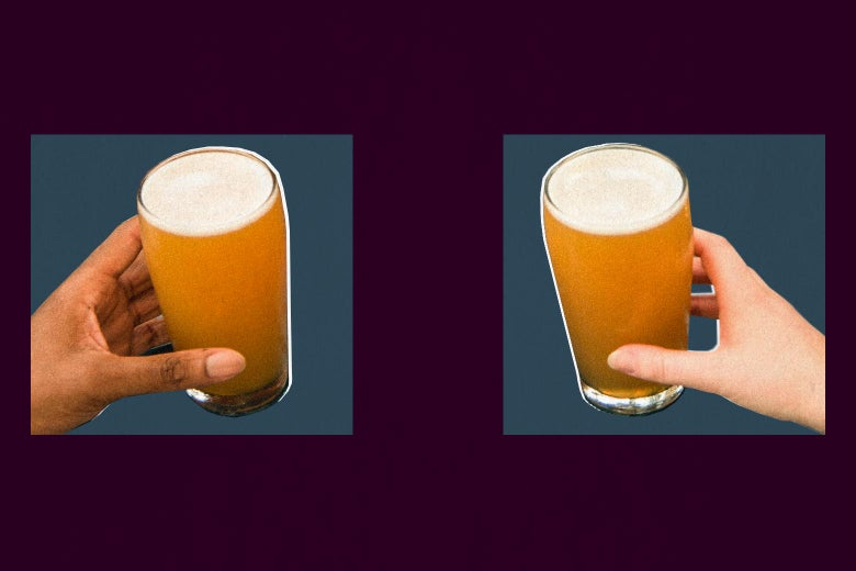 Two hands hold mugs full of beer at a distance across a table. The mugs and hands are featured in squares.