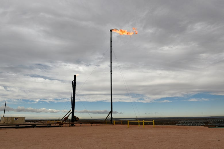 A natural gas flare