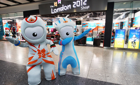 2012 mascots, Wenlock and Mandeville strike a pose outside the new London 2012 store at Heathrow Airport on March 1, 2011 in London, England.