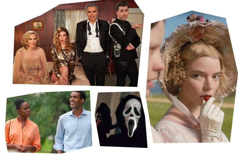 Stills from each of the movies in a mosaic art style: the cast of Schitt's Creek standing in a hotel room; Parker Sawyer and Tika Sumpter walk and laugh together; Ghostface looks at the camera; Anna Taylor-Joy eats a cherry.