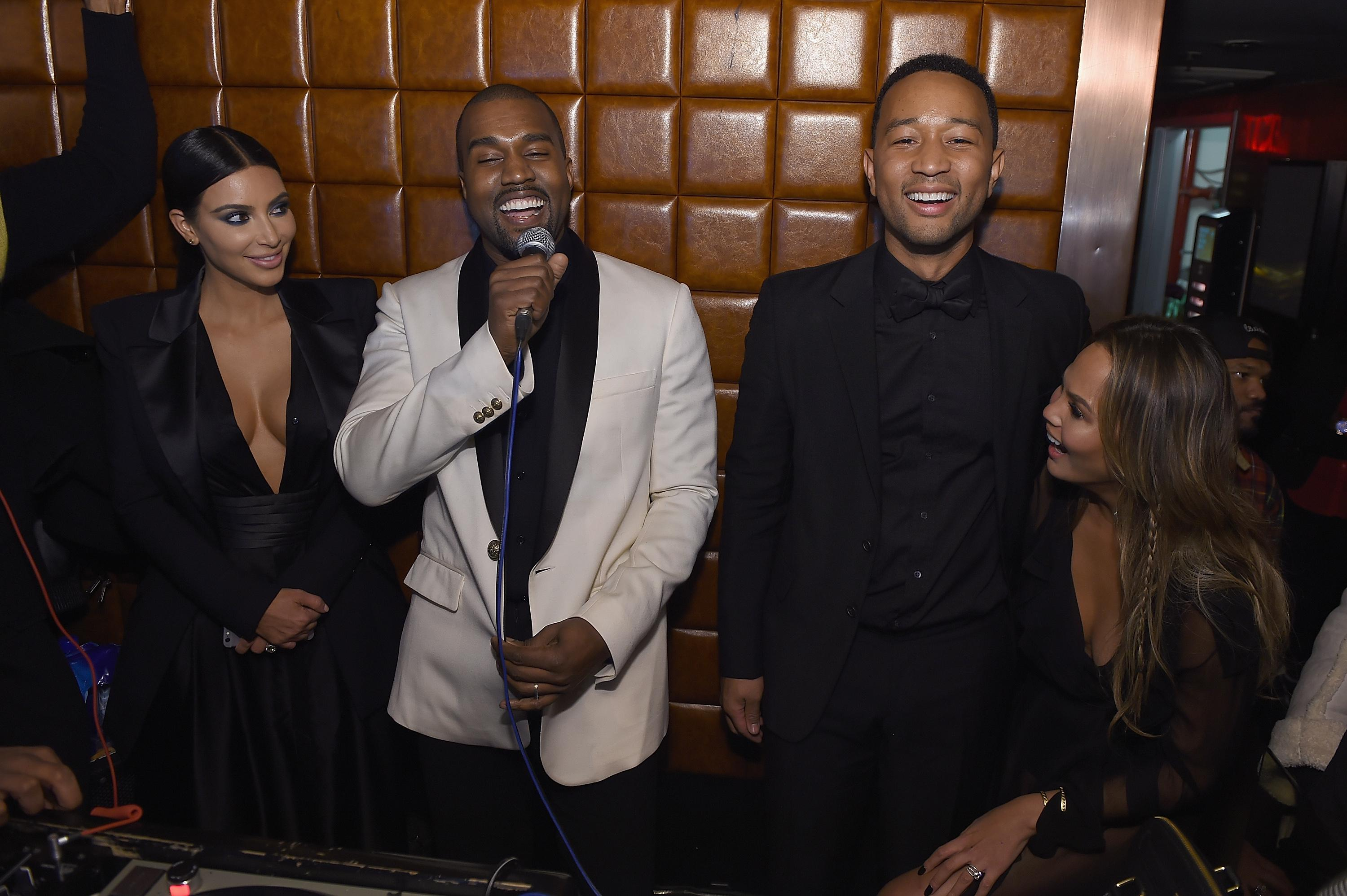 NEW YORK, NY - JANUARY 08:  Kim Kardashian, Kanye West, John Legend and Chrissy Teigen attend John Legend Celebrates His Birthday.