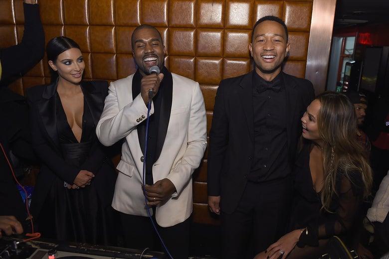 NEW YORK, NY - JANUARY 08:  Kim Kardashian, Kanye West, John Legend and Chrissy Teigen attend John Legend Celebrates His Birthday.