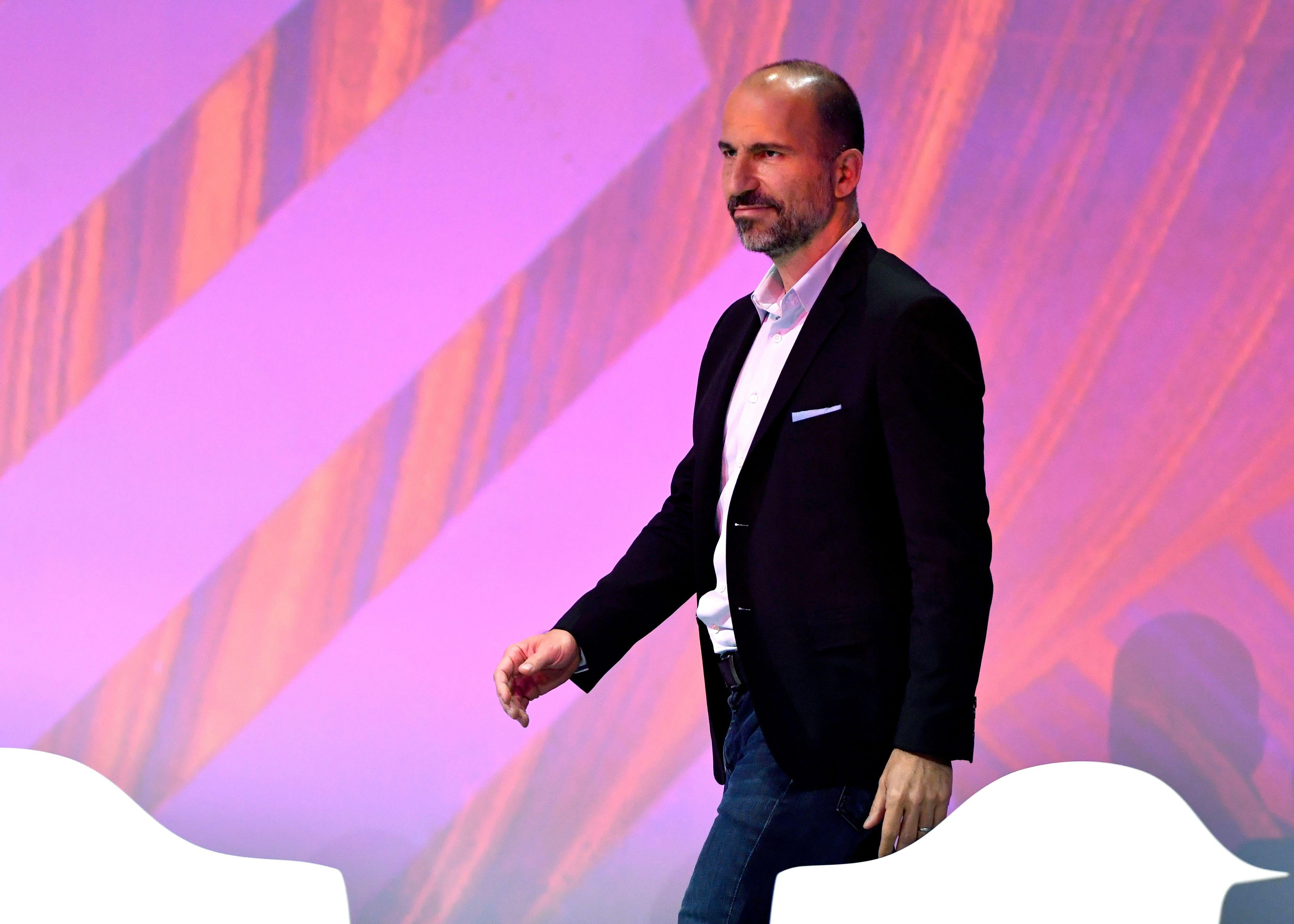 Uber's CEO Dara Khosrowshahi arrives to deliver a speech at the VivaTech (Viva Technology) trade fair in Paris, on May 24, 2018. (Photo by GERARD JULIEN / AFP)        (Photo credit should read GERARD JULIEN/AFP/Getty Images)