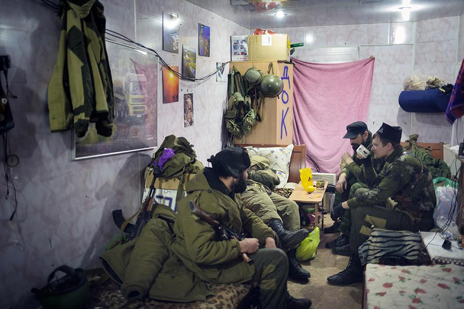 Pro-Russian rebels in a bunker at the front near the airport in December.