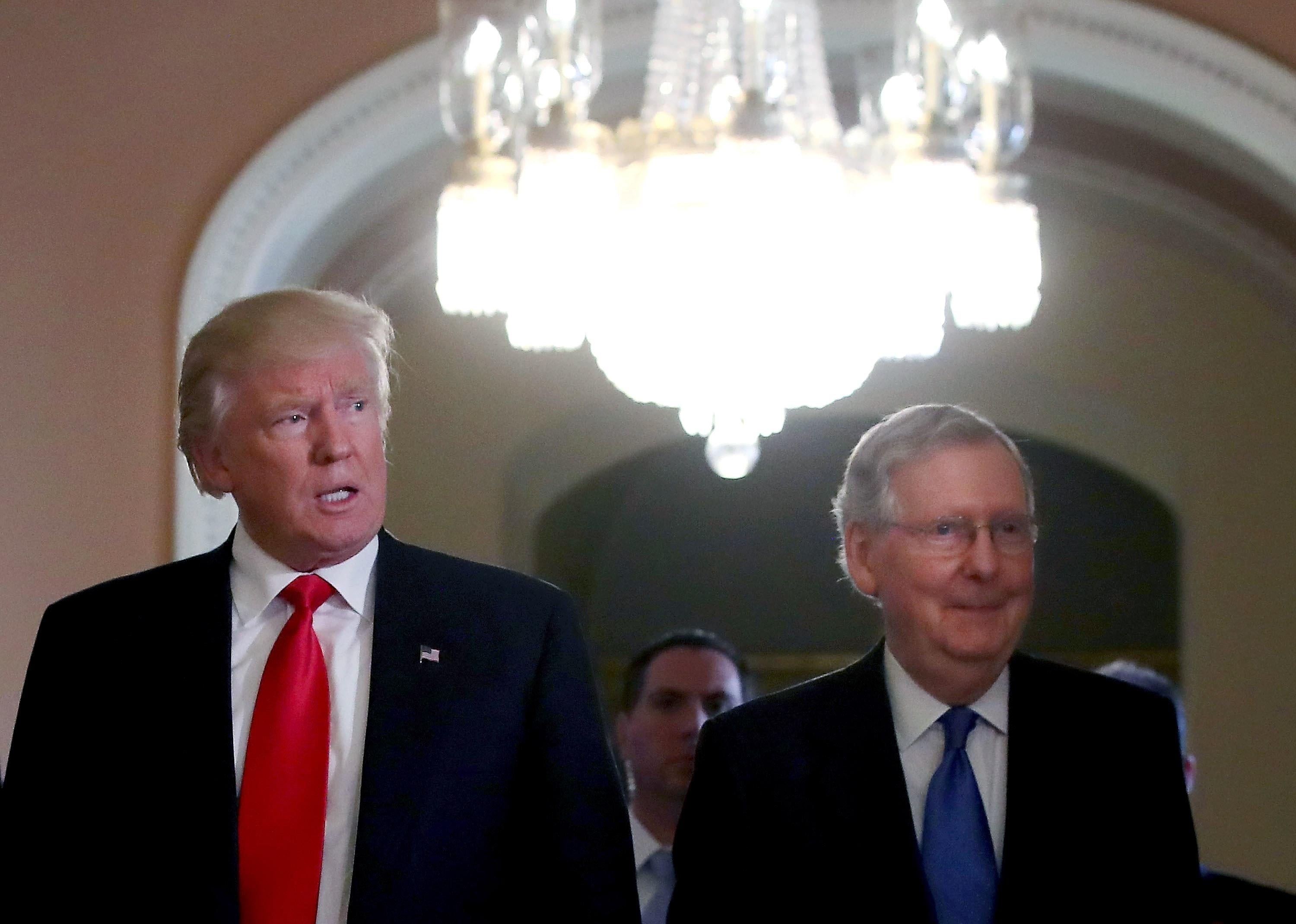 Donald Trump and Mitch McConnell in the U.S. Capitol.