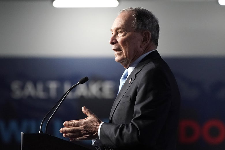 Former New York mayor Mike Bloomberg talks to supporters at a rally in Salt Lake City.