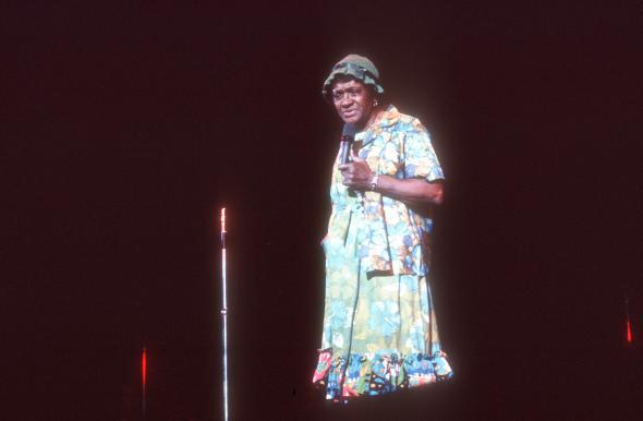 Moms Mabley on stage.