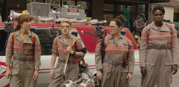 The new Ghostbusters: Kristen Wiig, Kate McKinnon, Melissa McCarthy, and Leslie Jones.