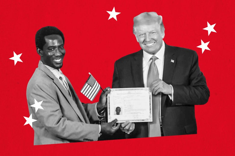 President Donald Trump hosts a naturalization ceremony for new citizens in a pre-recorded video broadcasted during the virtual convention on August 25, 2020.