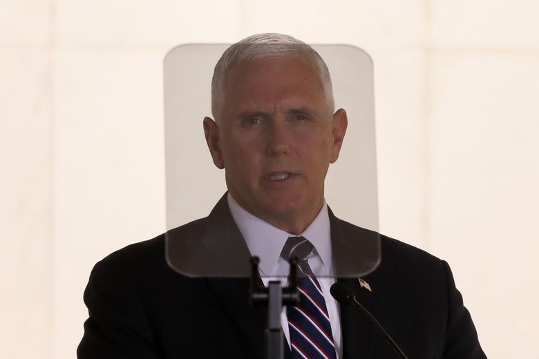 Vice President Mike Pence seen through a teleprompter.