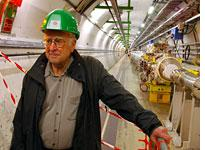 Peter Higgs inside the Large Hadron Collider in Geneva. Click image to expand.