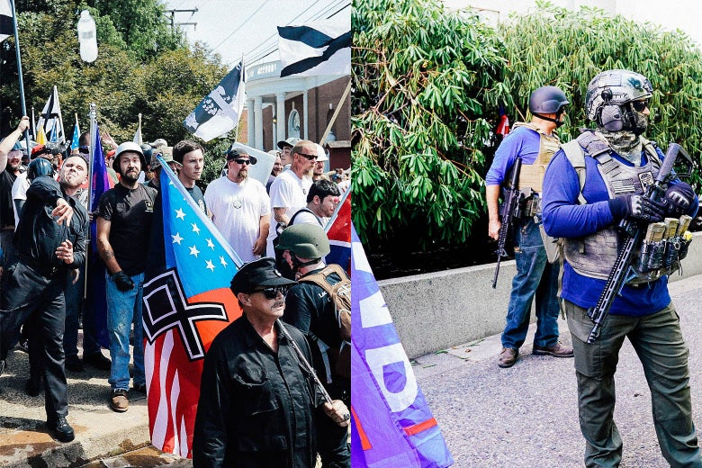 "A scene from the ""Unite the Right"" rally in Charlottesville is seen side by side with a scene from a far-right protest in Portland."