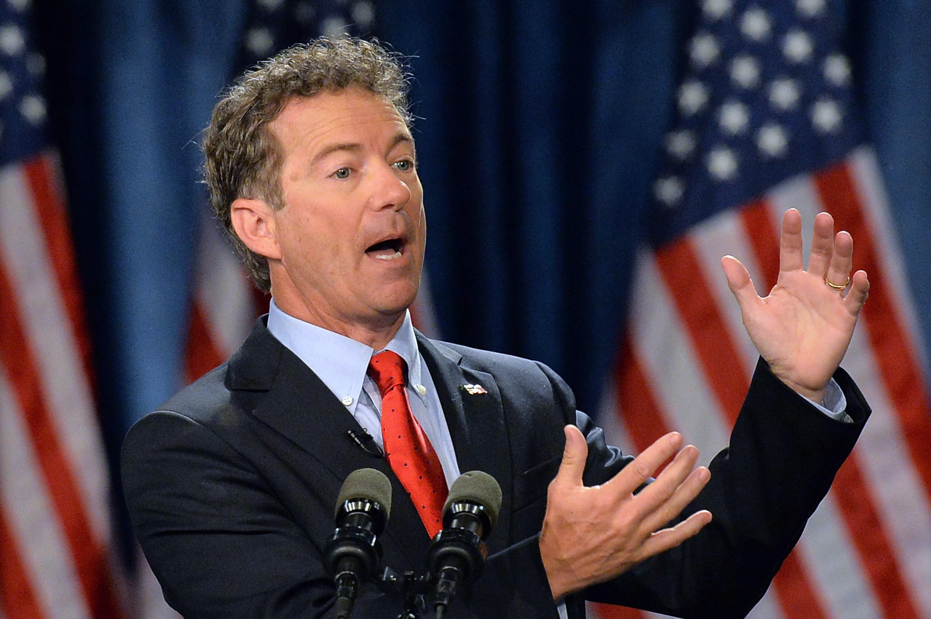 Sen. Rand Paul speaks to supporters during the kickoff of the national Stand With Rand tour on April 7, 2015, in Louisville, Kentucky.