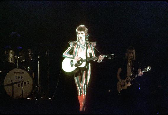 Musician David Bowie performs onstage during his 'Ziggy Stardust' era in 1973 in Los Angeles, California.