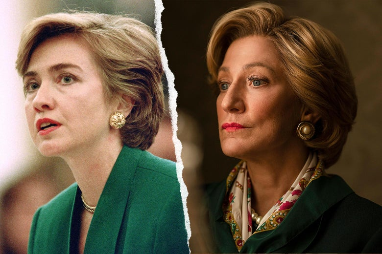 Side-by-side photos of Hillary Clinton and Edie Falco both wearing a green blazer