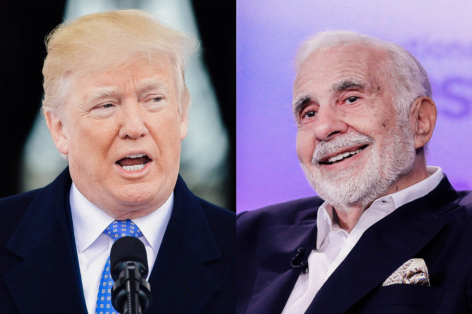 Side-by-side photos of Donald Trump and Carl Icahn.