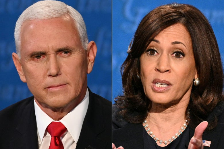 Mike Pence stares straight ahead with a grim look on his face. Kamala Harris gestures with her hands while speaking, her eyebrows raised.