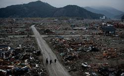 The tsunami-damaged city of Rikuzentakata, Japan. Click image to expand.