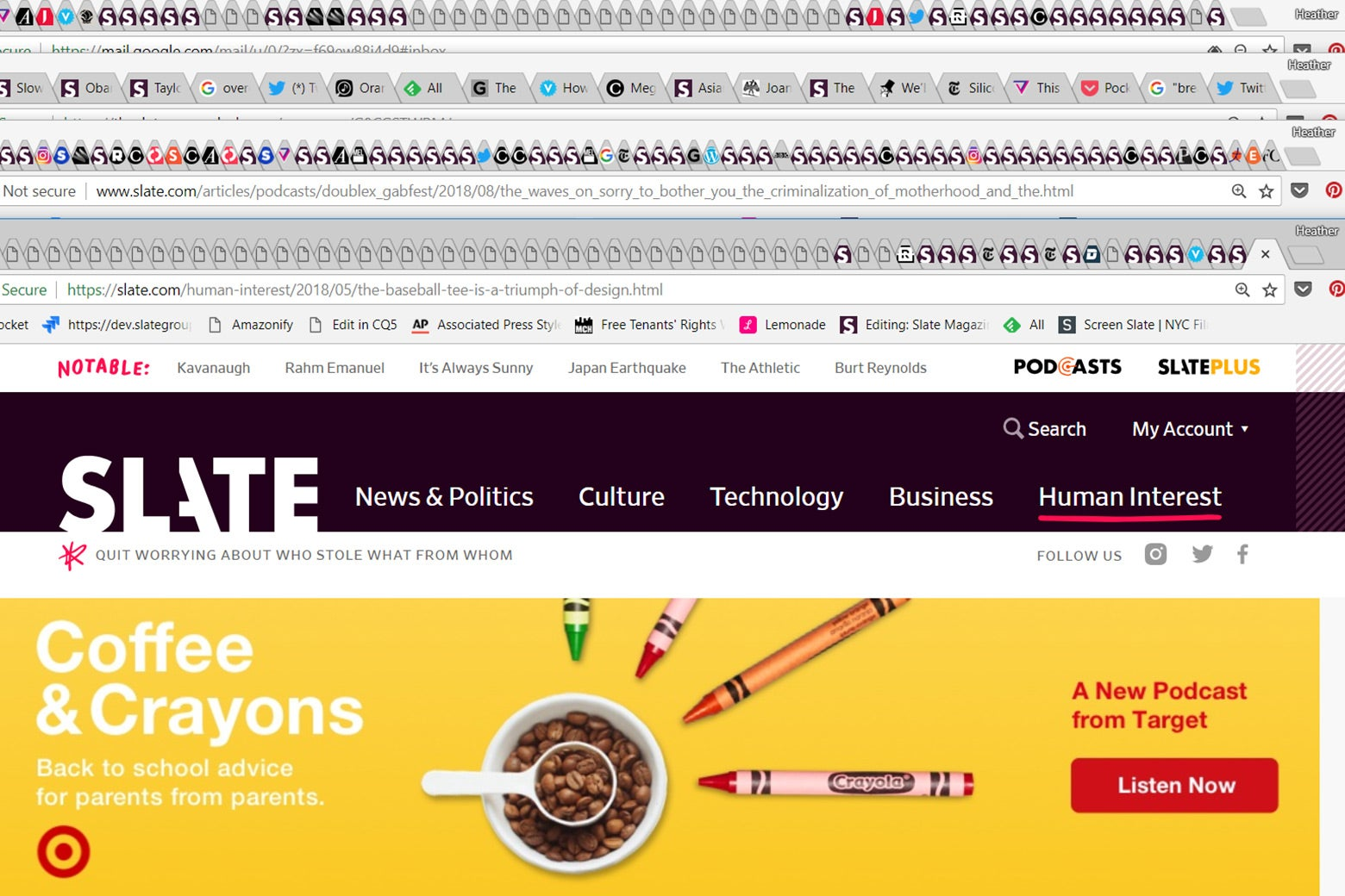 A lot of browser tabs left open.