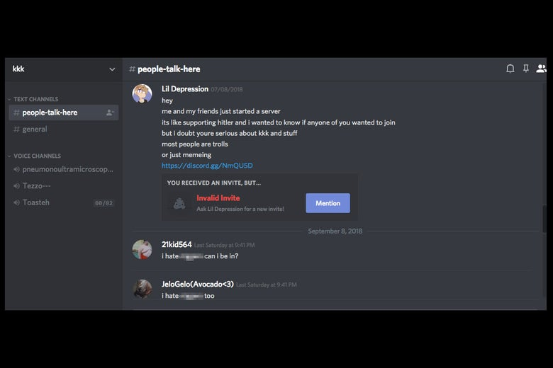 Screenshot from Discord message board people-talk-here