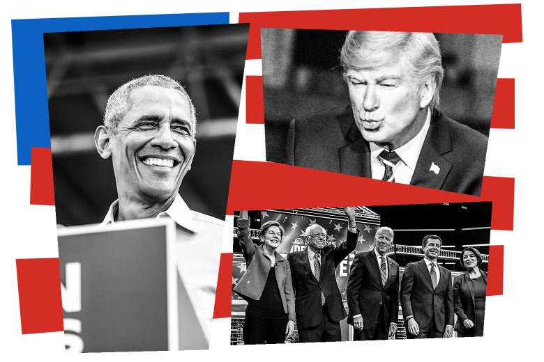 Barack Obama, Alec Baldwin as Donald Trump, and a Democratic primary debate