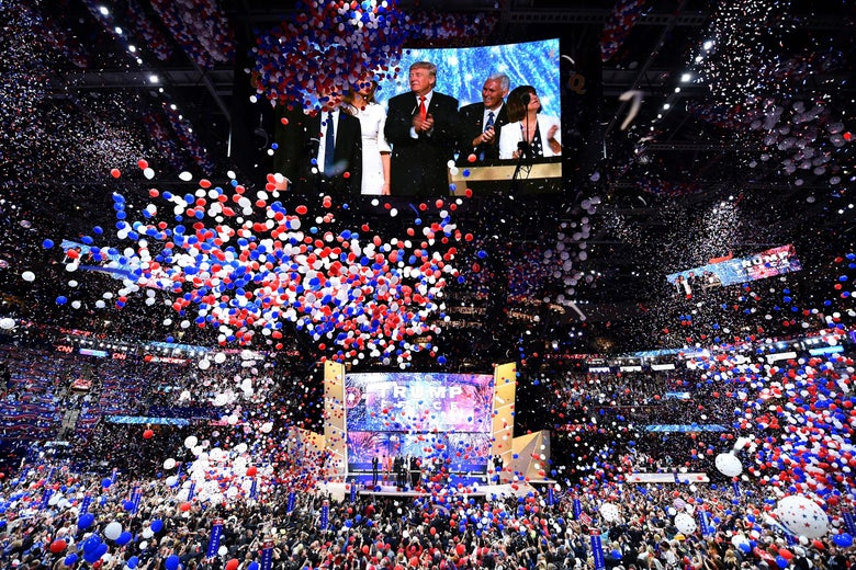 Balloons fall after Republican presidential candidate Donald Trump spoke and accepted the party nomination on the last day of the Republican National Convention on July 21, 2016, in Cleveland, Ohio.