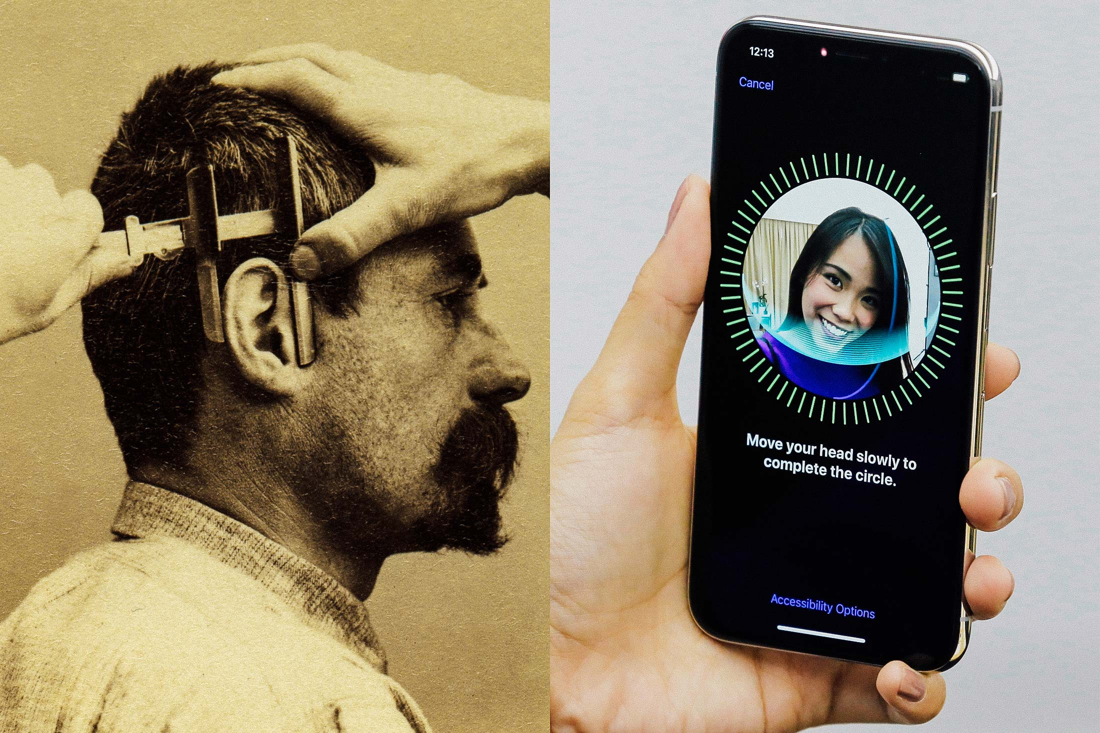 At left: Bertillon measurements. At right: Face ID on iPhone X.