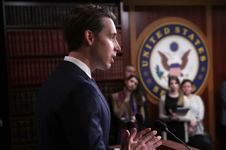 Missouri Sen Josh Hawley speaks at the U.S. Capitol on April 2.