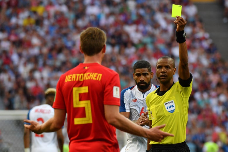 Belgium's defender Jan Vertonghen (C) reacts after reciving a yellow card by Zambian referee Janny Sikazwe (R) during the Russia 2018 World Cup Group G football match between Belgium and Panama at the Fisht Stadium in Sochi on June 18, 2018. (Photo by Nelson Almeida / AFP) / RESTRICTED TO EDITORIAL USE - NO MOBILE PUSH ALERTS/DOWNLOADS        (Photo credit should read NELSON ALMEIDA/AFP/Getty Images)