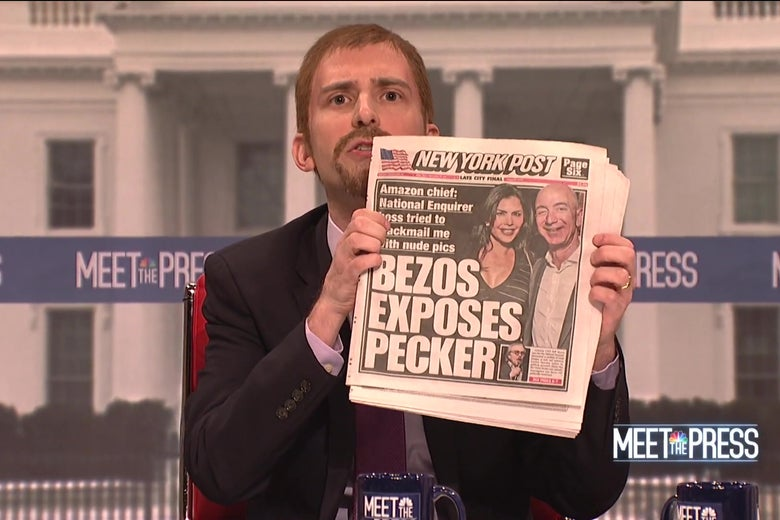 "Kyle Mooney, as Chuck Todd, holds up a New York Post with the headline ""Bezos Exposes Pecker."""