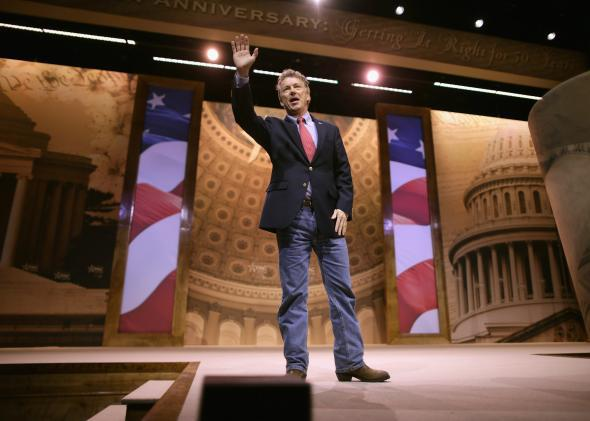 Sen. Rand Paul waves after addressing the Conservative Political Action Conference at the Gaylord International Hotel and Conference Center March 7, 2014, in National Harbor, Md.
