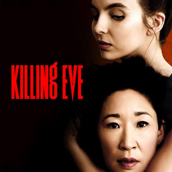 Title card for Killing Eve, featuring Sandra Oh and Jodie Comer.