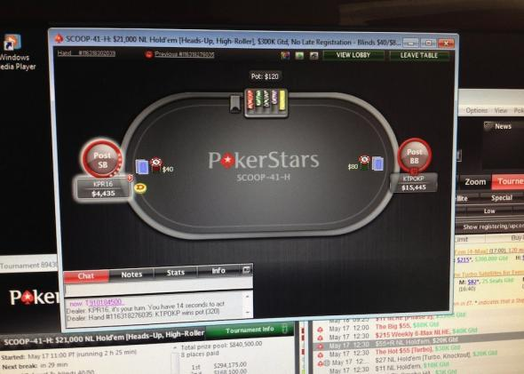 A player's screen as he plays a hand.