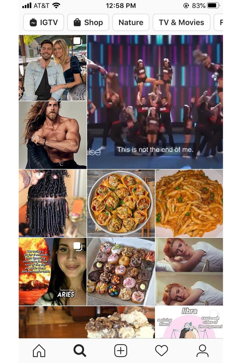 Screenshot of an Instagram Explore feed, featuring photos of celebrities and food.