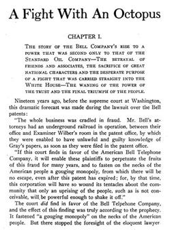 """Excerpt from a book on the battle between Bell (the """"octopus"""") and the independent telephone companies. Click image to expand."""