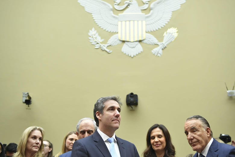 Michael Cohen arrives to testify before the House Oversight and Reform Committee in the Rayburn House Office Building on Capitol Hill in Washington, DC on February 27, 2019.