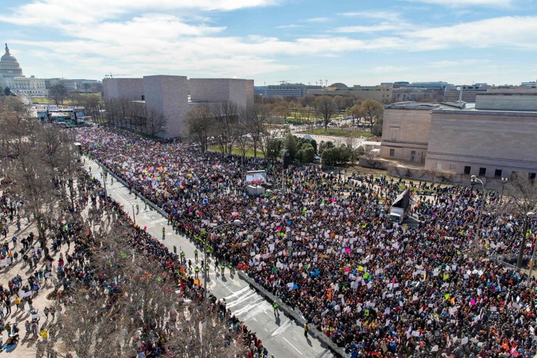 The crowd at the March for Our Lives Rally as seen from the roof of the Newseum in Washington, DC on March 24, 2018. Galvanized by a massacre at a Florida high school, hundreds of thousands of Americans are expected to take to the streets in cities across the United States on Saturday in the biggest protest for gun control in a generation.