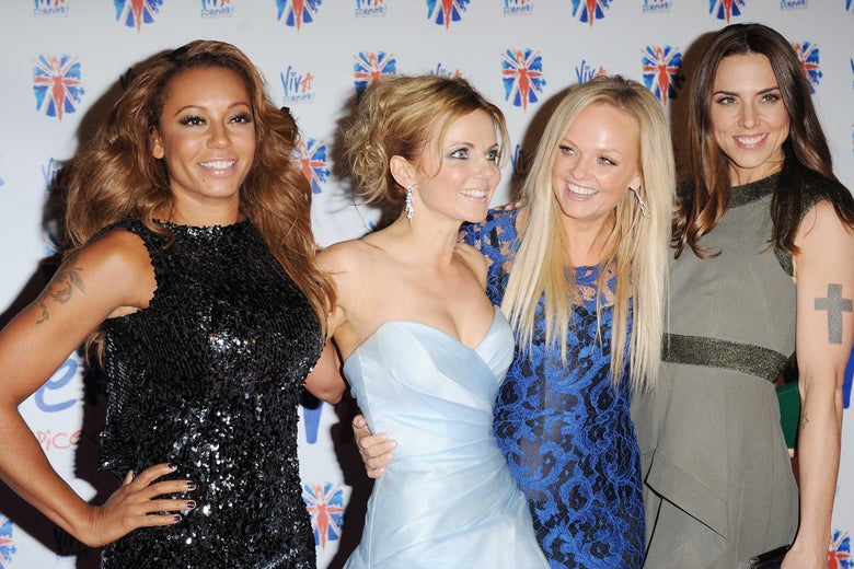 LONDON, UNITED KINGDOM - DECEMBER 11: Melanie Brown, Geri Halliwell, Emma Bunton and Melanie Chisholm attend the after party for the press night of 'Viva Forever', a musical based on the music of The Spice Girls at Victoria Embankment Gardens on December 11, 2012 in London, England. (Photo by Stuart Wilson/Getty Images)