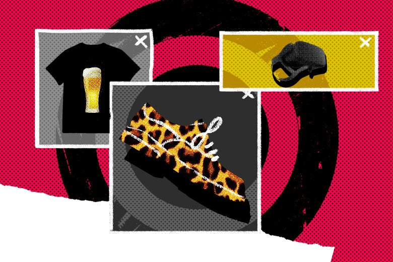 Photo illustration of pop-up ad images: a T-shirt with beer, leopard-print shoes, and a leash?