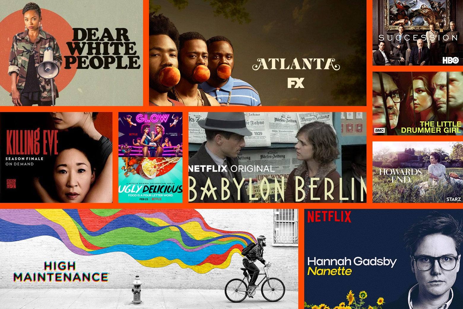 Collage of title cards of the shows on the list.